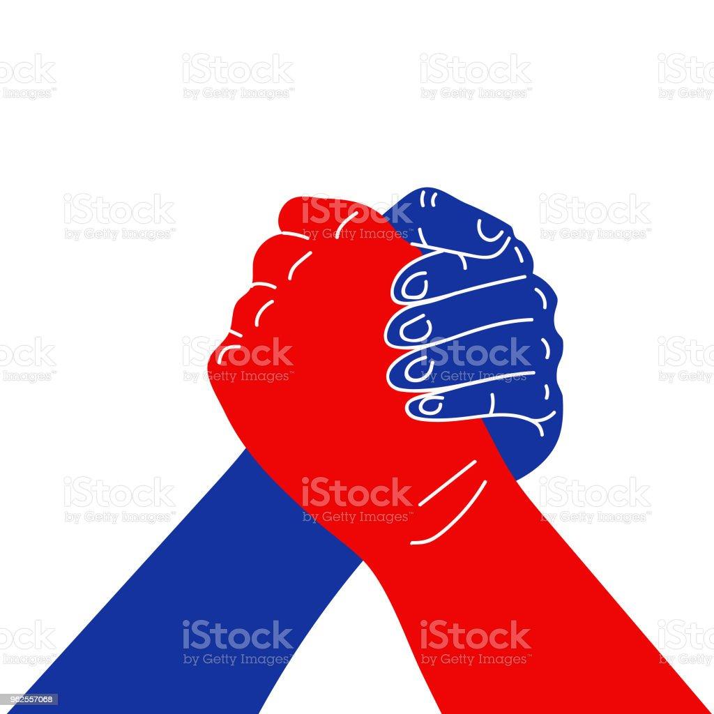 Flat design icon, sign of armwrestling handshake isolated on white background, vector illustration. vector art illustration