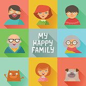 Flat design icons collection of family members avatars