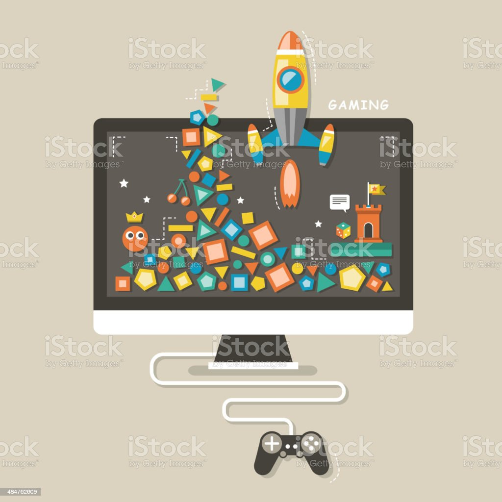flat design icons concept of computer games vector art illustration