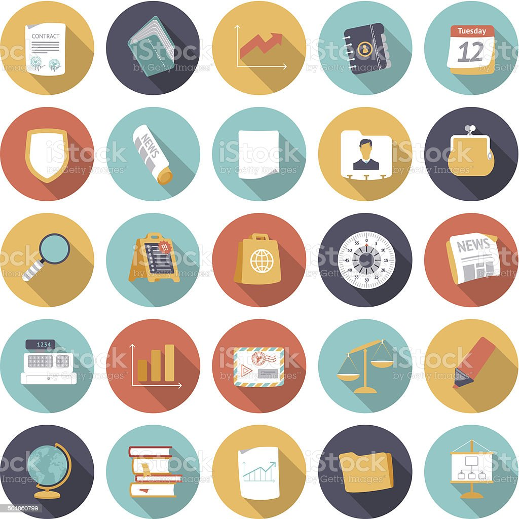 Flat design icons for business and finance vector art illustration