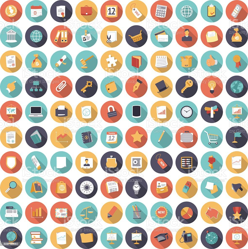 Icônes du design plat pour les affaires et la finance - Illustration vectorielle