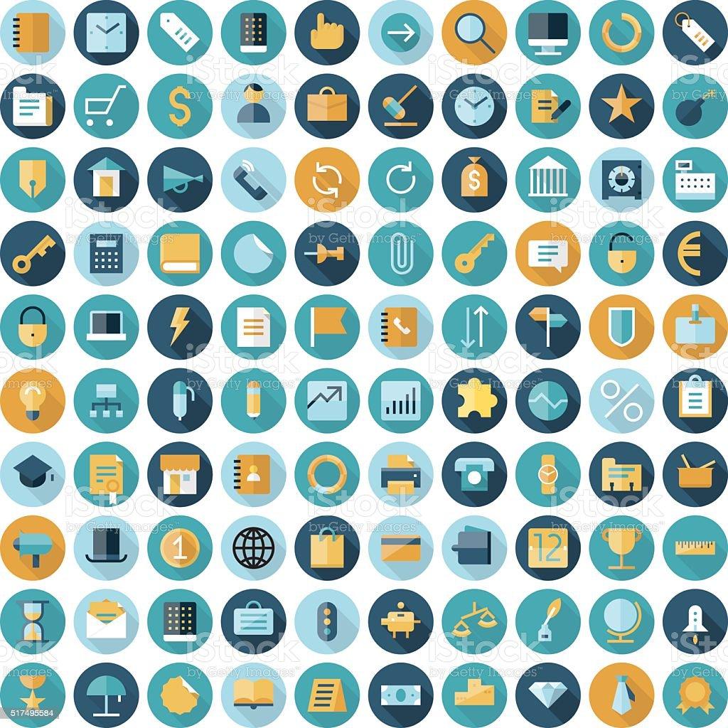 Diseño plano iconos de negocios y finanzas - ilustración de arte vectorial