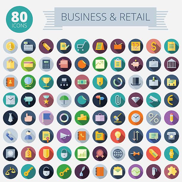 flache design-ikonen für business und einzelhandel - flat design symbole stock-grafiken, -clipart, -cartoons und -symbole