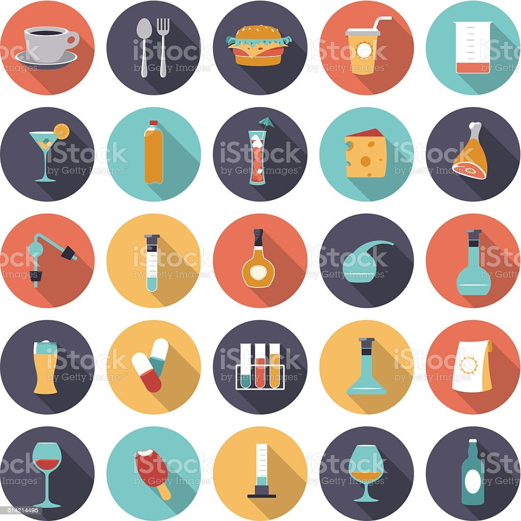 Flat design icons for food and drinks industry vector art illustration