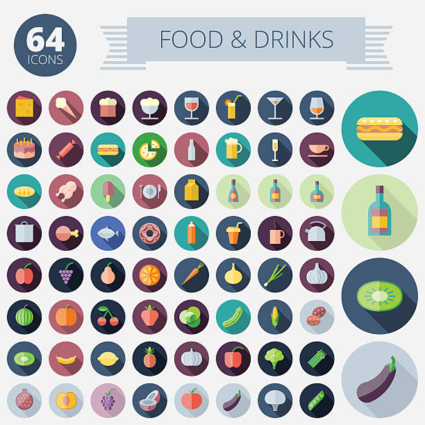 Flat Design Icons For Food and Drinks Flat Design Icons For Food, Drinks, Fruits and Vegetables. Vector eps10. Easy to recolor. Transparent shadows and relief in separate layers. candy clipart stock illustrations