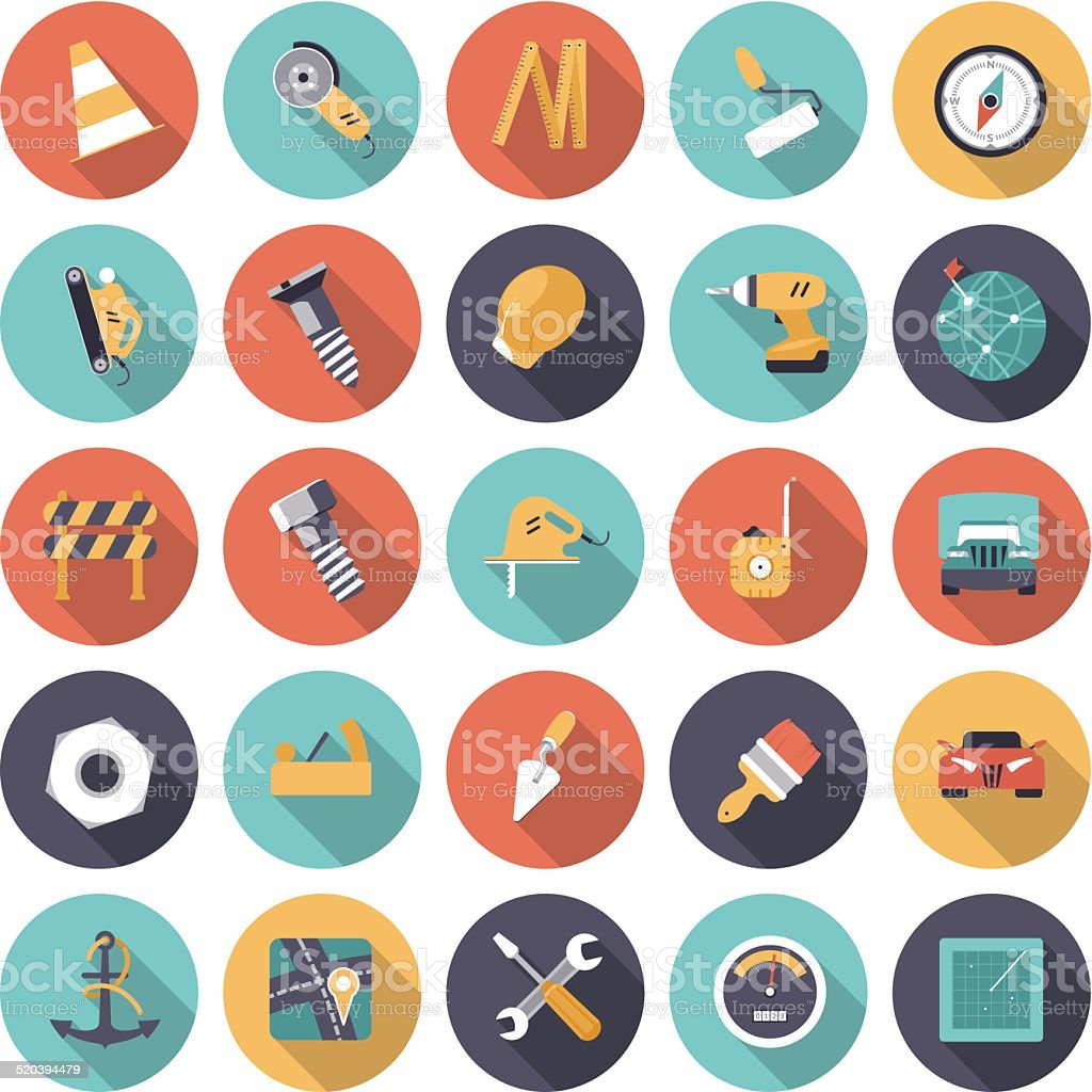 Flat design icons for industrial vector art illustration