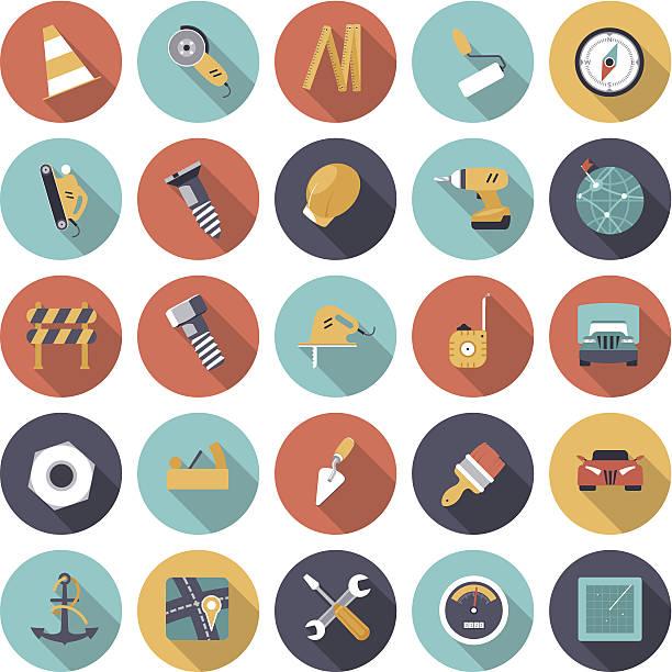 Flat design icons for industrial vector art illustration