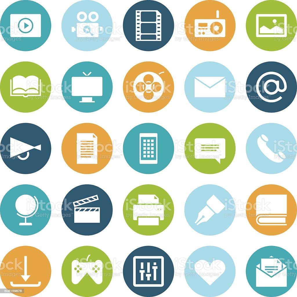 Flat design icons for media vector art illustration