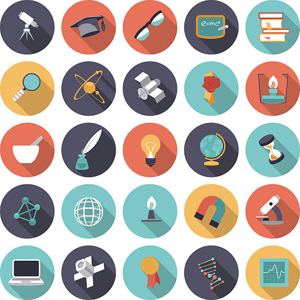 Flat design icons for science and education vector art illustration