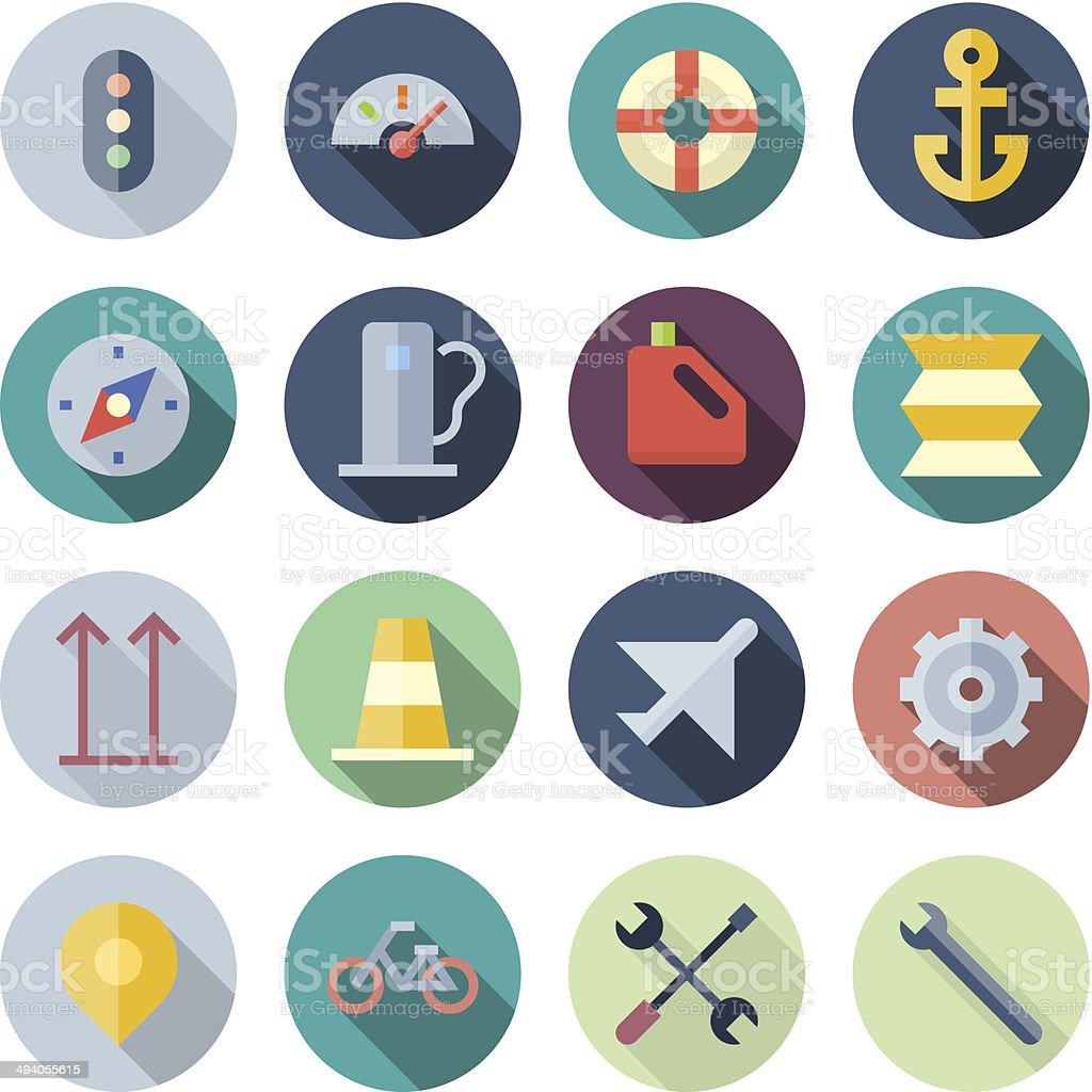 Flat Design Icons For Transportation vector art illustration
