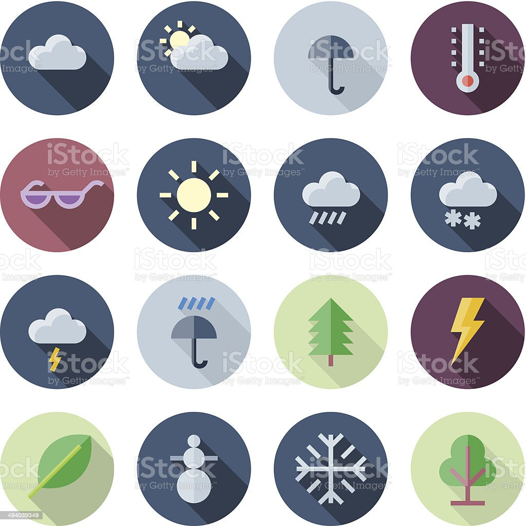 Flat Design Icons For Weather and Nature vector art illustration