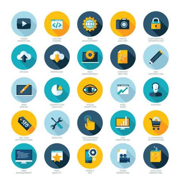 Flat design icons for web design development, SEO and internet marketing Set of modern flat design icons sem stock illustrations