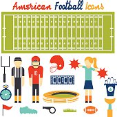 flat design icons of american football