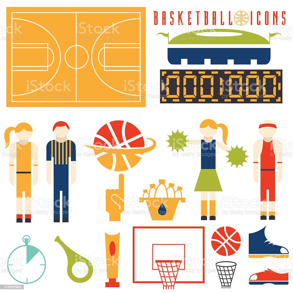 flat design icons of basketball vector art illustration