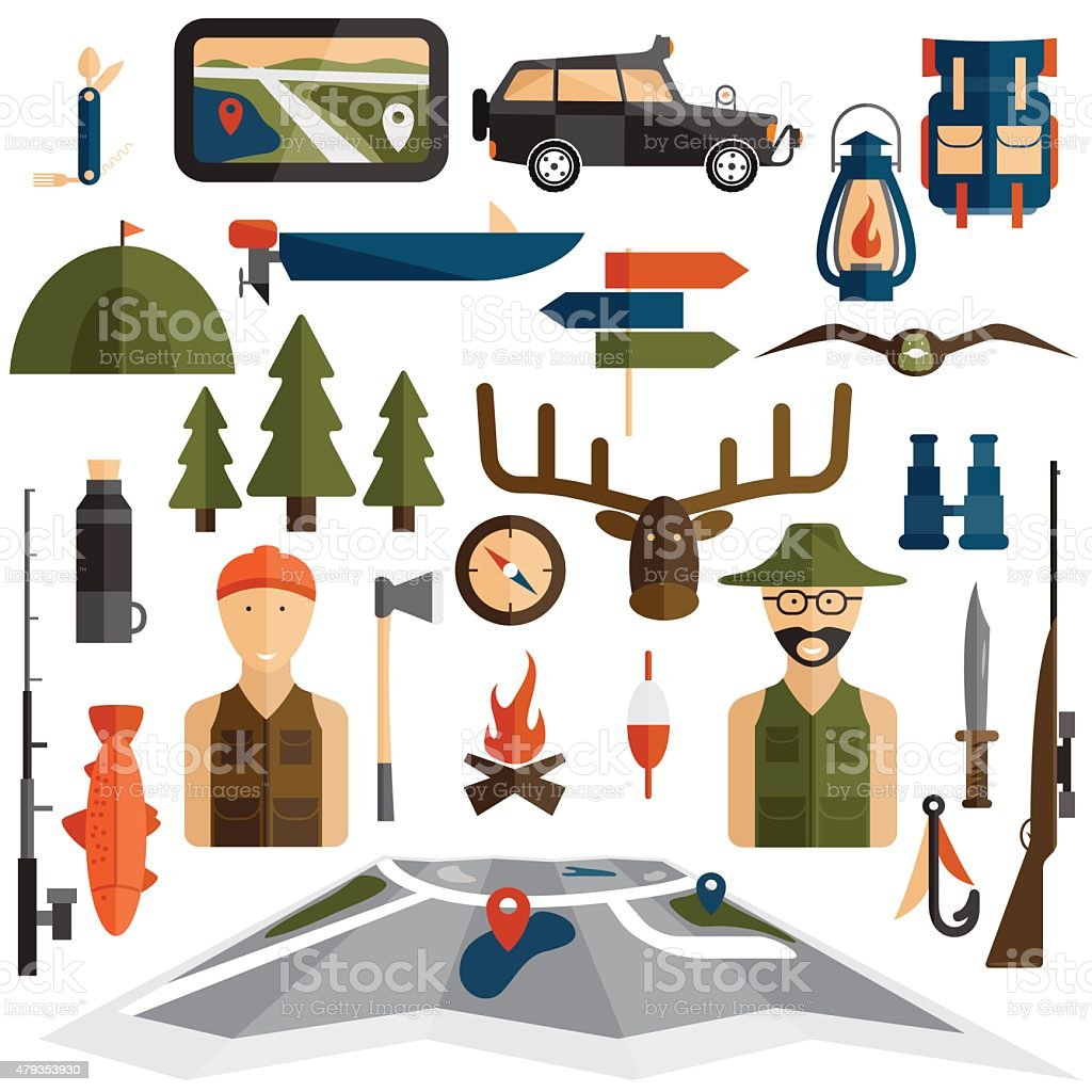 flat design icons of fishing and hunting theme - Royaltyfri 2015 vektorgrafik