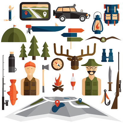 Flat Design Icons Of Fishing And Hunting Theme-vektorgrafik och fler bilder på 2015