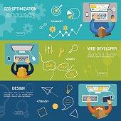 Banners for websites flat design style. IT developers: seo optimization, web developer, designer