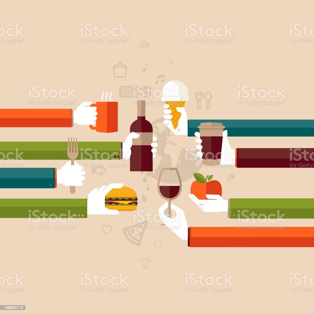 Flat design illustration concept for restaurant vector art illustration