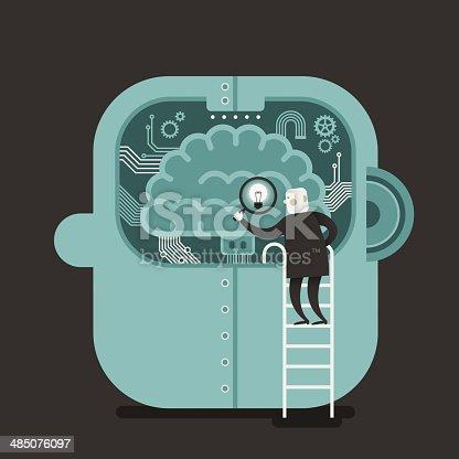 862431374 istock photo flat design illustration concept of brain searching 485076097