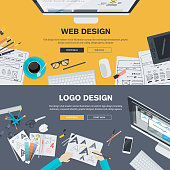 Flat design illustration concepts for web design development and logo design