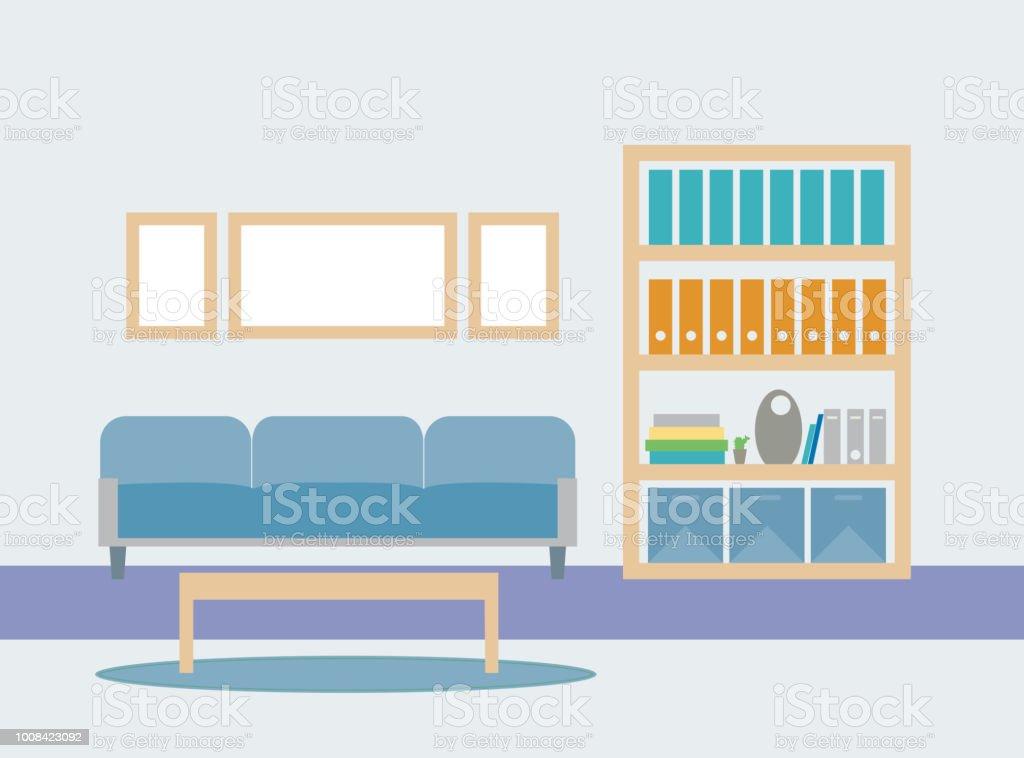 Ilustración de Ilustración De Diseño Plano De Sala De Estar Con Un ...