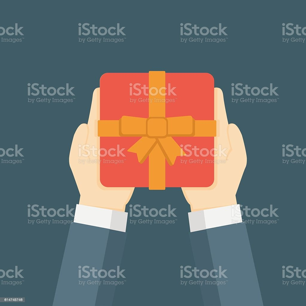 Flat Design Illustration Of Hand Holding Gift Box vector art illustration