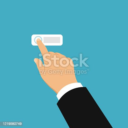 Flat design illustration of hand of salesman or trader. Ringing electric doorbell and going to visit - vector