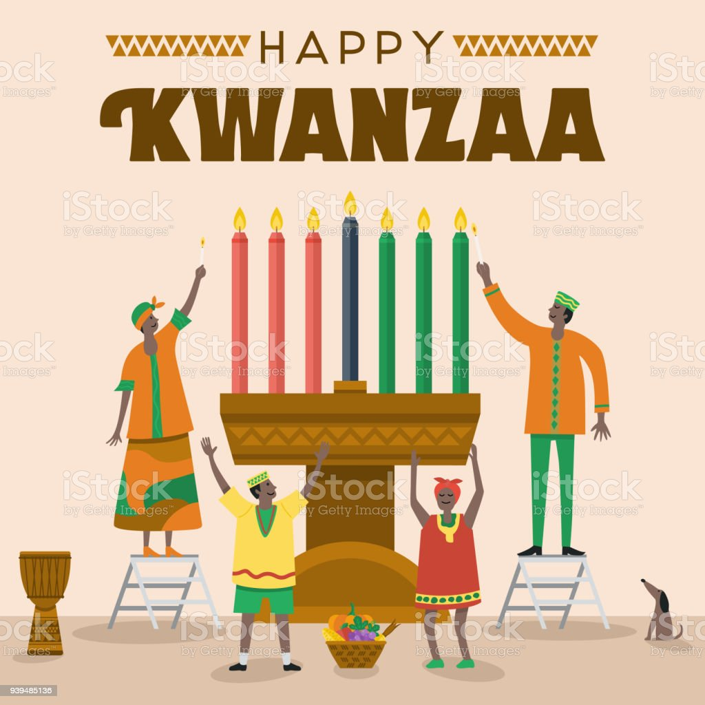 Flat design, Illustration of happy family celebrating Kwanzaa Festival, Vector