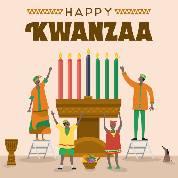 Flat design, Illustration of happy family celebrating Kwanzaa Festival, Vector vector art illustration