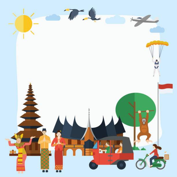 플랫 디자인, 일러스트 레이션 오브 인도네시아어 아이콘과 랜드마크, 벡터 - 자카르타 stock illustrations