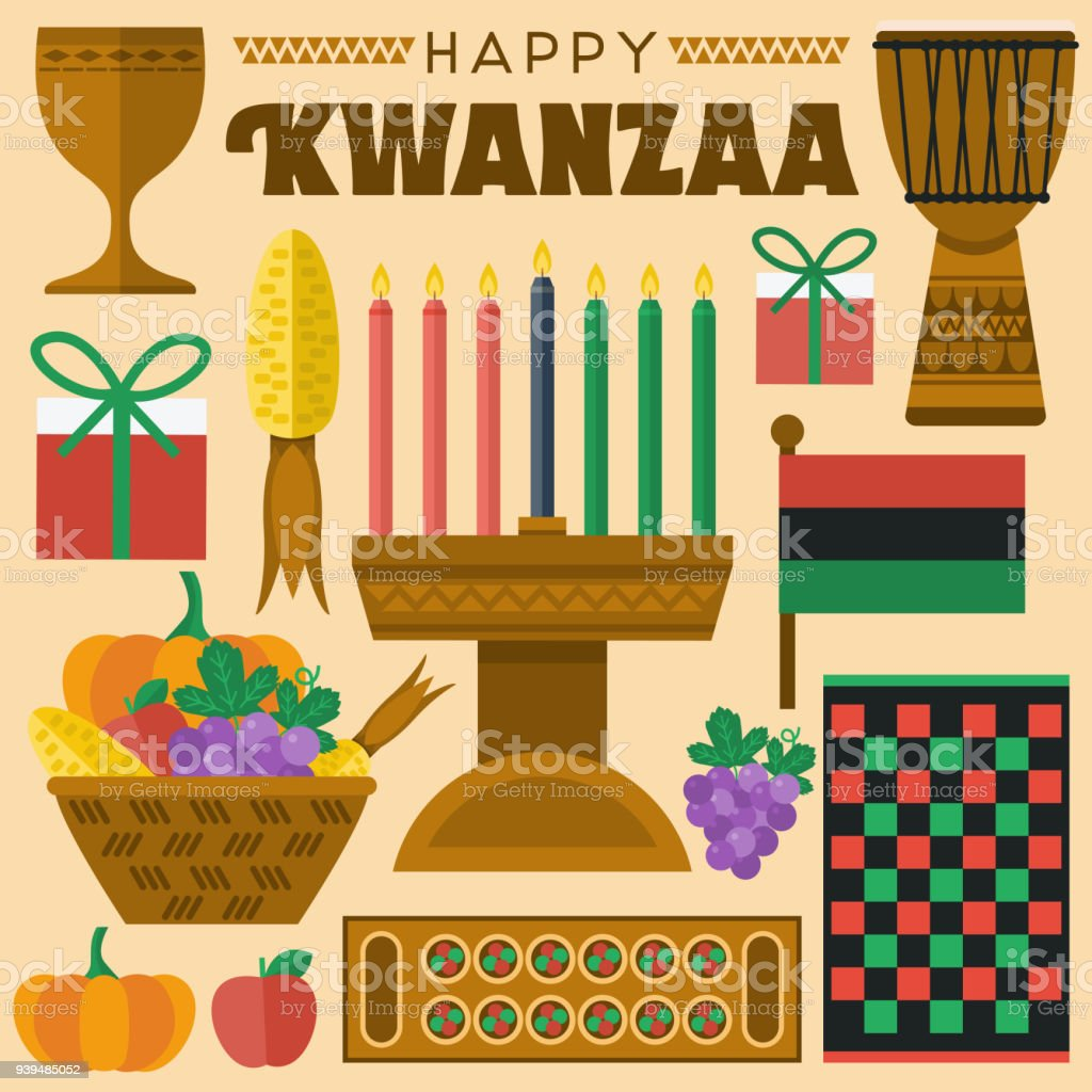 Flat design, Illustration of Kwanzaa icons and elements, Vector vector art illustration