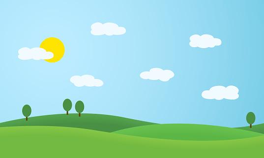 Ilustración de diseño plano del paisaje con prados y colinas. Arboles verdes bajo el cielo azul con sol y nubes blancas - vector