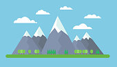 Flat design illustration of mountains on meadow with trees on foreground under blue sky with clouds - vector