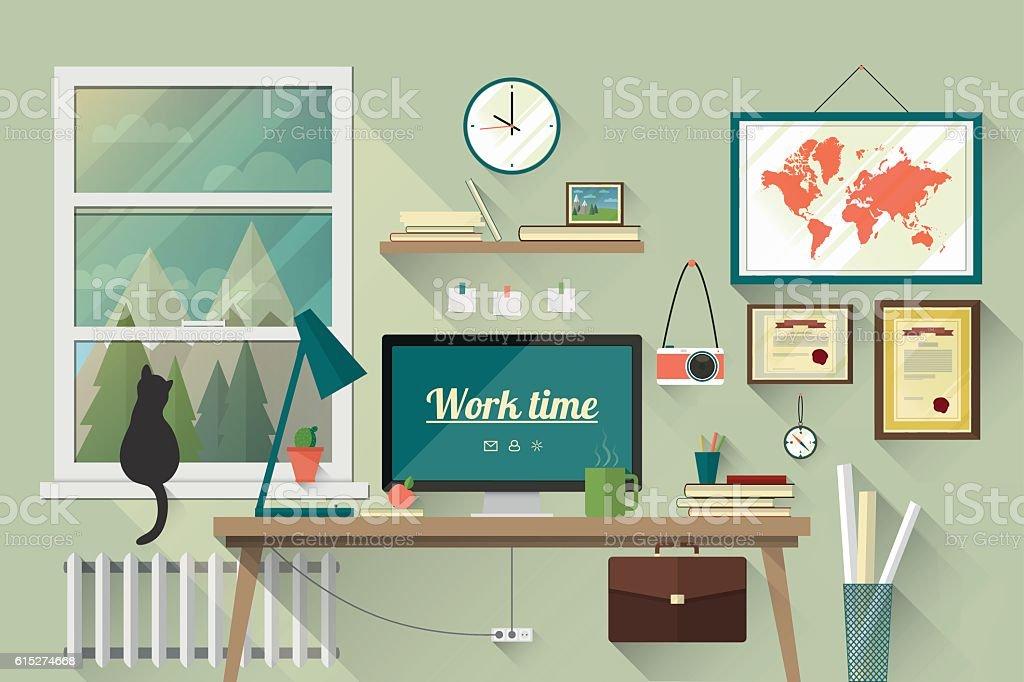 Flat design illustration of the modern workplace vector art illustration