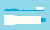 Flat design illustration of toothbrush and tube of toothpaste. Dental care, isolated on green-blue background - vector