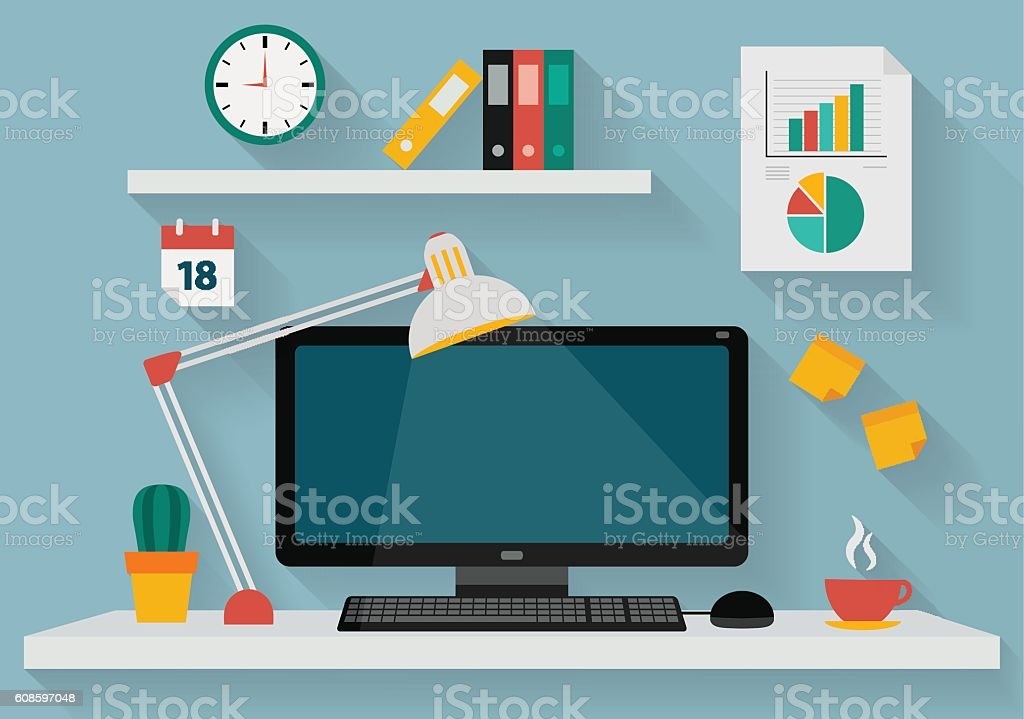 Flat design illustration of working place at office