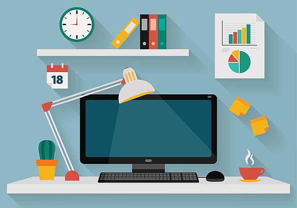 bildbanksillustrationer, clip art samt tecknat material och ikoner med flat design illustration of working place at office - bord