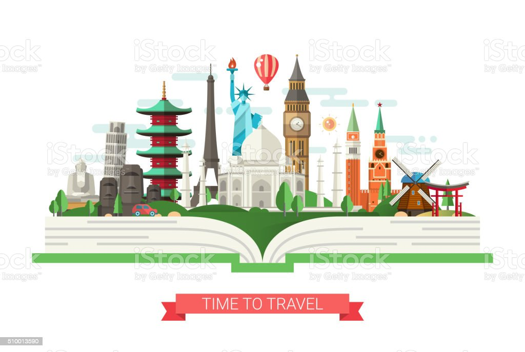 Flat design illustration with world famous landmarks on a book vector art illustration