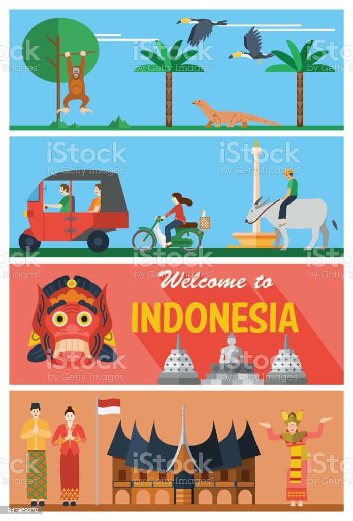 Flat design, Indonesia landmarks and icons vector art illustration