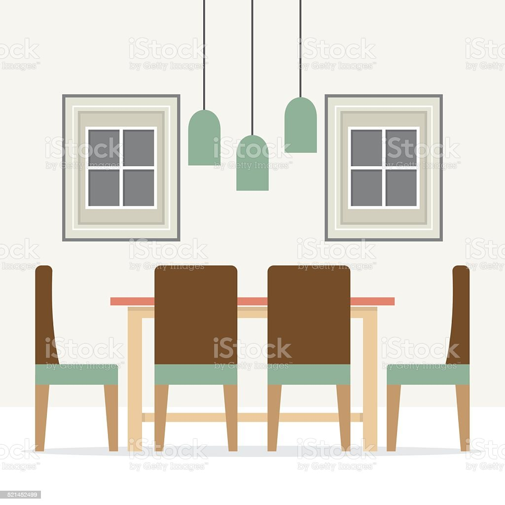 Flat design interior dining room stock vector art more for Flat interior images