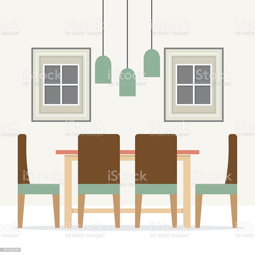 Flat design interior dining room stock vector art more Flat interior images