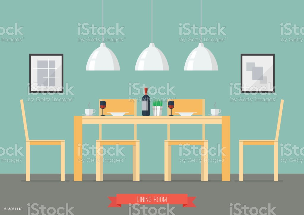 Flat Design Interior Dining Room vector art illustration
