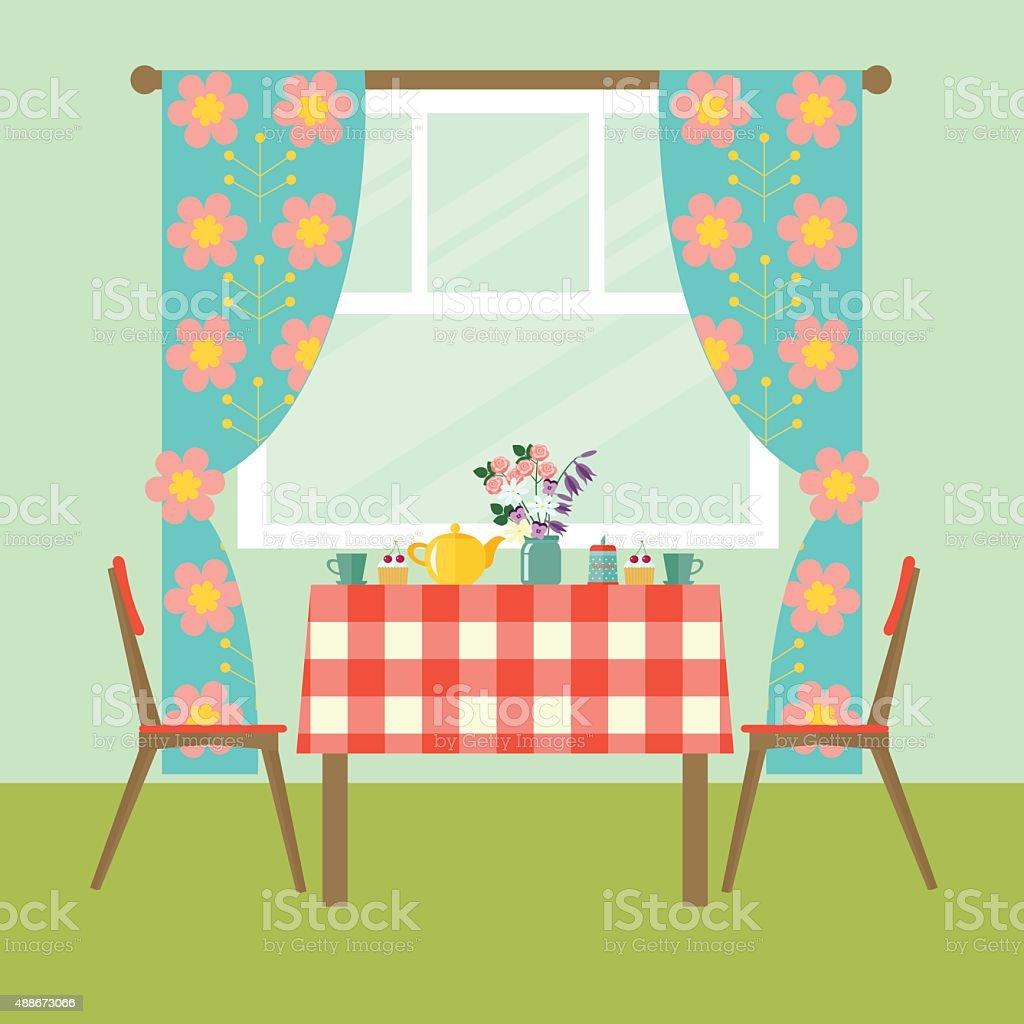 Flat Design Interior Dining Room Vector Illustration Royalty Free Flat  Design Interior Dining Room Vector