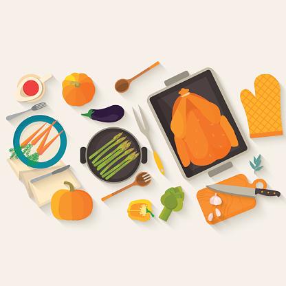Płaskie Projektowanie Karty Zaproszenie Dla Dziękczynienie Obiad - Stockowe grafiki wektorowe i więcej obrazów 2015