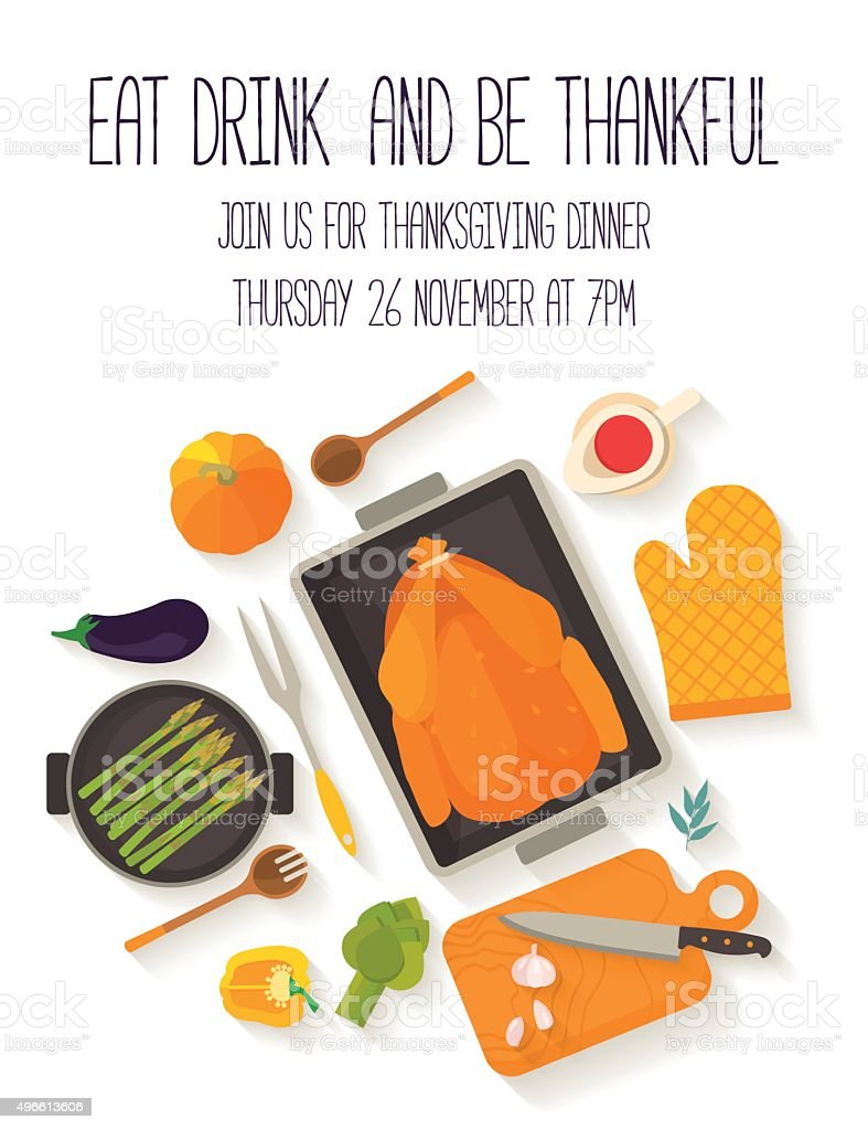 Flat design invitation card for Thanksgiving dinner. vector art illustration
