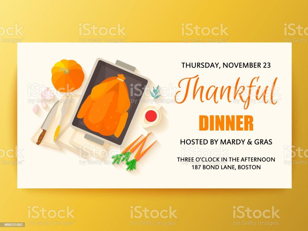 Flat Design Invitation Card For Thanksgiving Dinner Stock