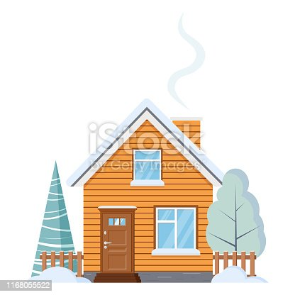 istock Flat design isolated wooden rural farm house with attic, chimney, fences, with snowy winter tree and spruce. 1168055522