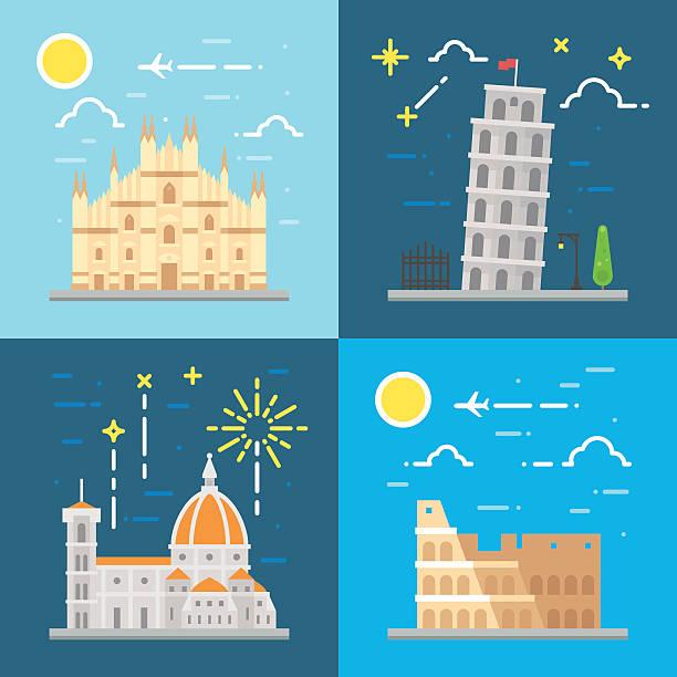 illustrazioni stock, clip art, cartoni animati e icone di tendenza di set di simboli piatto design italia - milano