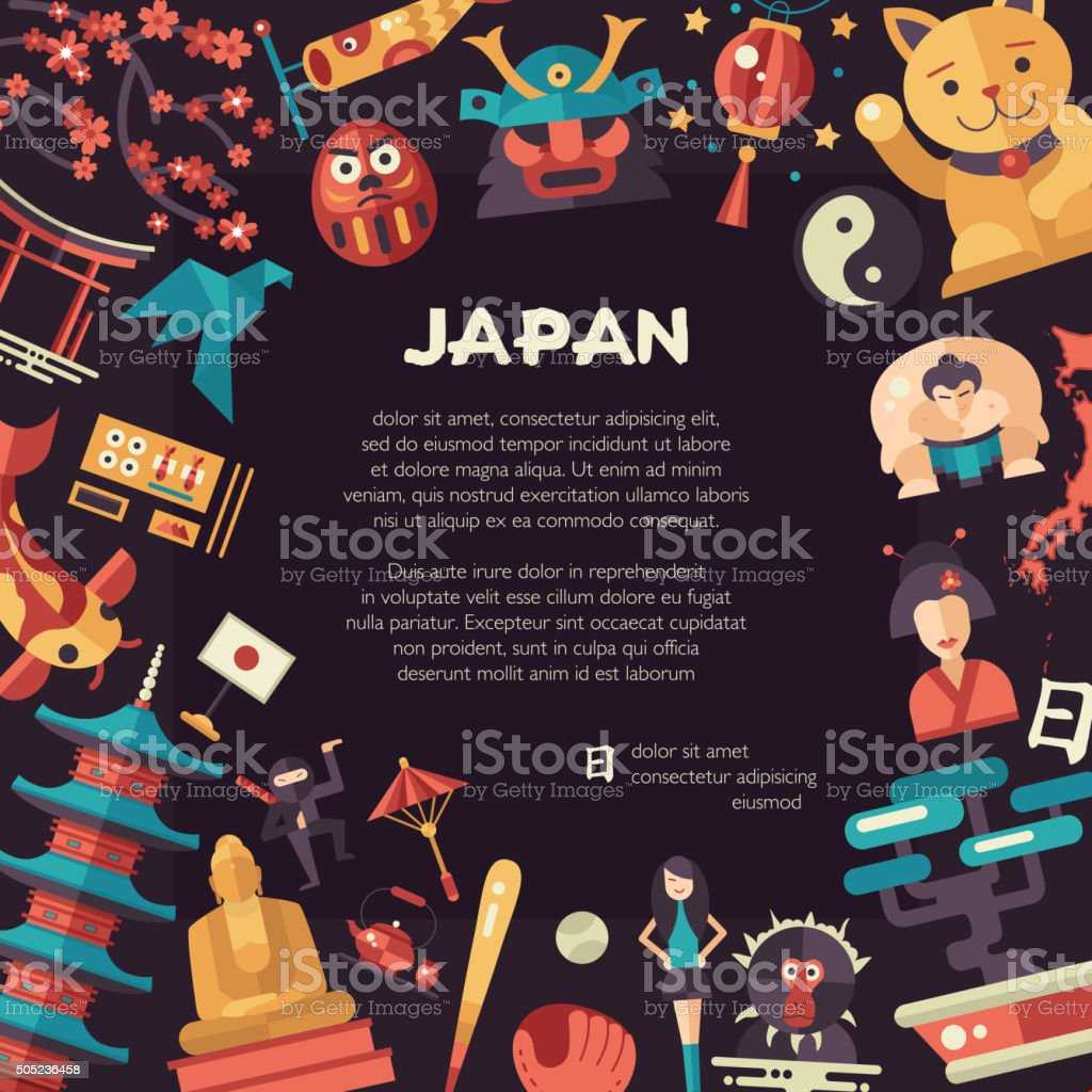 Flat design Japan travel postcard with landmarks, famous Japanese symbols vector art illustration