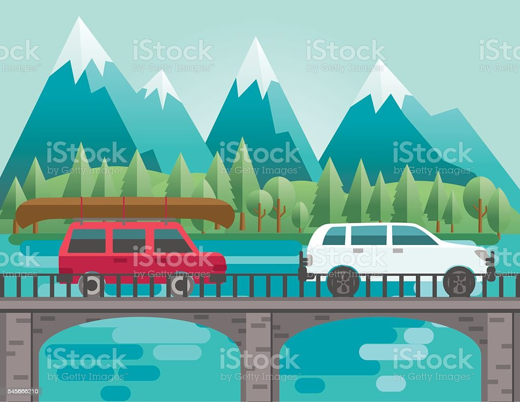 Flat Design Landscape Of Mountains And Trees vector art illustration